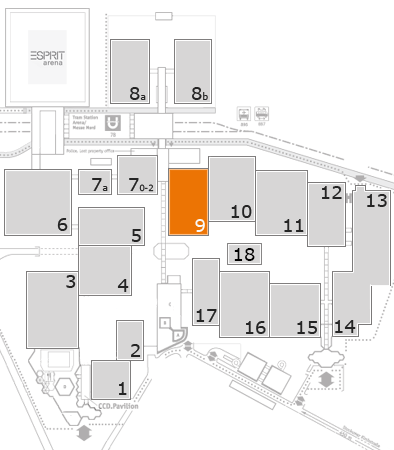 A+A 2017 Geländeplan: Halle 9