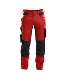 dynax work trousers with stretch and knee pockets red black front