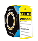 OSHA Caution Tags By-The-Roll With Grommets: Barricade Tag
