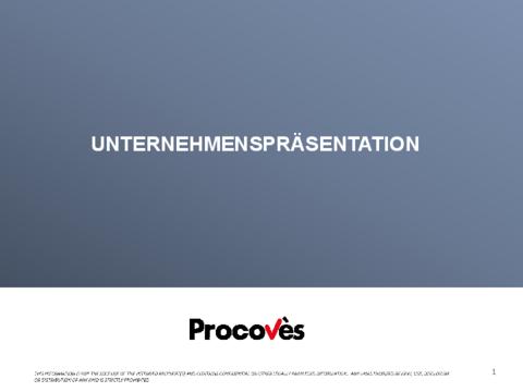 PROCOVES KURZPRÄSENTATION SHORT PRESENTATION