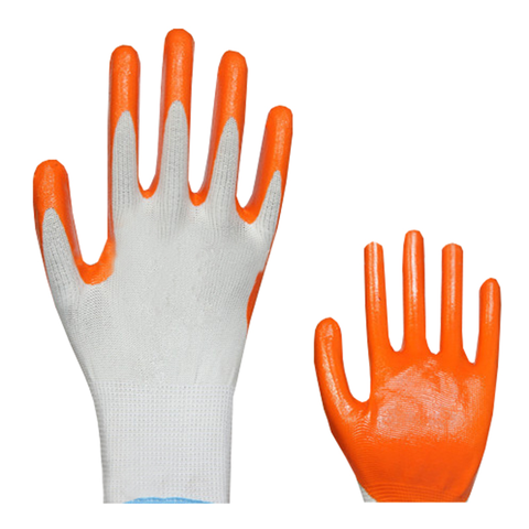 13g seamless polyester liner nitrile coated working gloves/safety glove