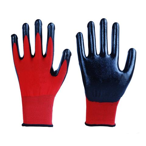 13G seamless polyester liner nitrile coated work garden gloves