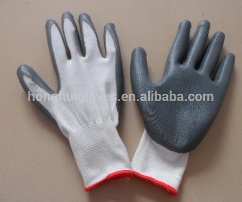 13G seamless white polyester liner grey nitrile coated work garden gloves